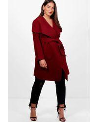 Boohoo | Plus Jourdan Wool Look Wrap Front Coat | Lyst