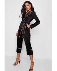 f7c8f41d0f6a Boohoo - Pyjama Style Satin Belted Culotte Jumpsuit - Lyst