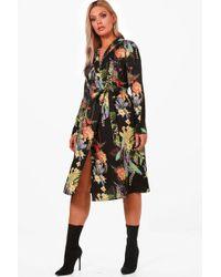 Boohoo - Plus Annie Oriental Kimono Wrap Dress - Lyst