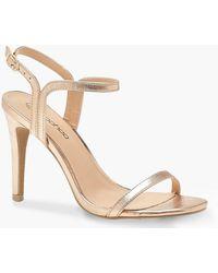 e754aead408f Boohoo Extra Wide Fit Square Toe Block Heels in Metallic - Lyst