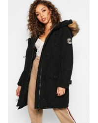 Boohoo - Arctic Padded Jacket With Faux Fur Trim - Lyst