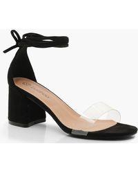 781f3cb2360 Lyst - Boohoo Pointed Toe Clear Wrap Strap Heels in Black