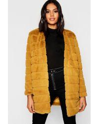Boohoo - Panelled Faux Fur Coat - Lyst