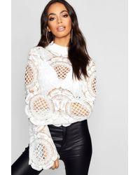 Boohoo - Turtle Neck Crochet Lace Crop - Lyst