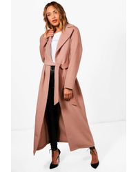 Boohoo | Lucy Belted Maxi Wool Look Coat | Lyst