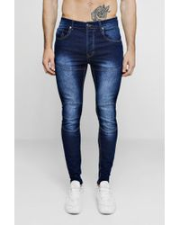 Boohoo - Skinny Fit Jeans With Biker Panelling - Lyst