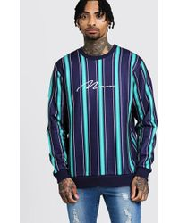 Boohoo - Man Signature Embroidered Stripe Sweater - Lyst