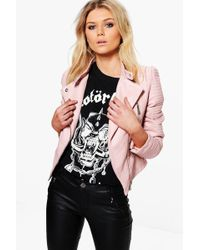 Boohoo - Lydia Quilted Sleeve Faux Leather Biker Jacket - Lyst