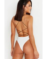 Boohoo - High Rise Extreme Lace Up Back Body - Lyst