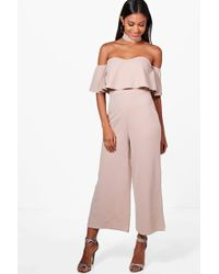 Boohoo - Ava Off The Shoulder Ruffle Cullotte Jumpsuit - Lyst