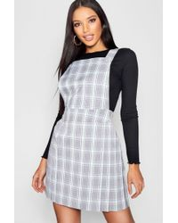 Boohoo - Pastel Checked Pinafore Dress - Lyst