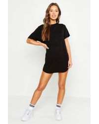 Boohoo - Petite Curved Hem T-shirt Dress - Lyst