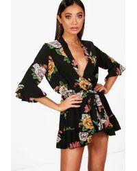 106562b6ba Boohoo - Oriental Kimono Style Belted Romper - Lyst