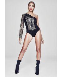 Boohoo - Premium Abbie One Shoulder Sequin Bodysuit - Lyst