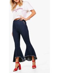 Boohoo - Raw Hem Extreme Flare Jeans - Lyst