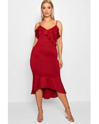 Boohoo - Plus Scuba Frill Peplum Midi Dress - Lyst