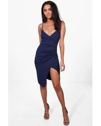 Boohoo - Petite Strappy Wrap Asymmetric Dress - Lyst
