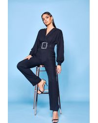 6d539c5e54f Lyst - Miss Selfridge Premium Tailored Dungaree Jumpsuit in Black
