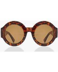 Boohoo - Oversized Thick Frame Round Sunglasses - Lyst