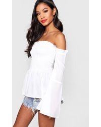 Boohoo - Shirred Off The Shoulder Top - Lyst