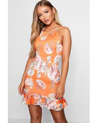 360906d666f5f Lyst - Boohoo Floral Print Ruffle Strap Skater Dress in White