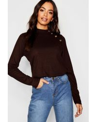 Boohoo - Gold Button Turtle Neck Top - Lyst