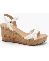 Boohoo - Lucy Plaited Strap Cork Flatform Wedges - Lyst