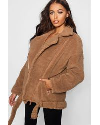 c054b03d777 Lyst - Boohoo Plus Oversized Teddy Faux Fur Jacket in Brown