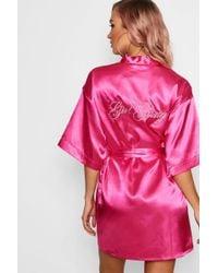 Boohoo - Girl Gang Embroidered Satin Robe - Lyst