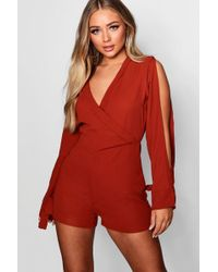 e38cff7e04 Boohoo Blazer Style Cut Out Shoulder Playsuit in White - Lyst