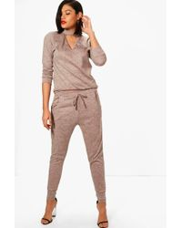 304237b40df4b Boohoo Maternity Ellie Choker Embroidered Loungewear Set in Gray - Lyst