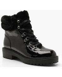 Boohoo - Faux Fur Cuff Patent Hiker Boots - Lyst