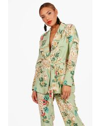 Boohoo - Elsa Premium Floral Print Belted Blazer - Lyst
