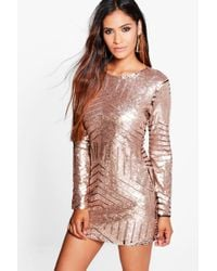 Boohoo - Boutique Sequin Mesh Bodycon Dress - Lyst