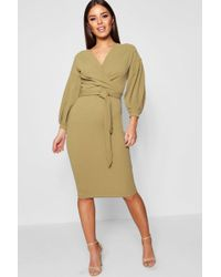 Boohoo - Petite Off The Shoulder Wrap Midi Dress - Lyst