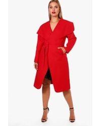 Boohoo - Plus Lydia Wool Look Wrap Coat - Lyst
