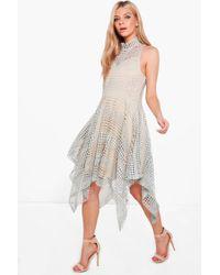 79a9d5eda1abd Lyst - Boohoo Jane Textured Slinky Hanky Hem Wrap Dress in Green