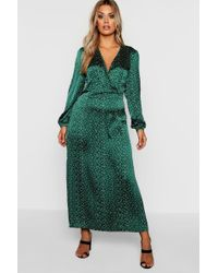 Boohoo - Plus Spot Balloon Sleeve Wrap Dress - Lyst
