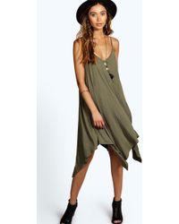 Boohoo | Jen Asymmetric Nem Strappy Swing Dress | Lyst
