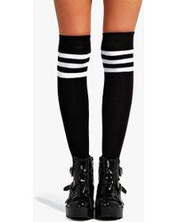 Boohoo   Catherine Stripe Top Knee High Socks   Lyst