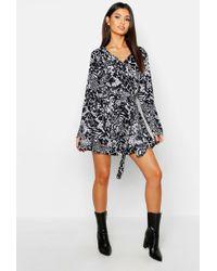 d7d46e046e9f Boohoo Ruffle Midi Tea Dress in Black - Lyst