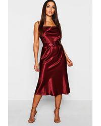Boohoo - Satin Belted Cowl Neck Midi Dress - Lyst