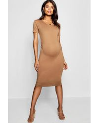 Boohoo - Maternity Short Sleeve Midi Dress - Lyst