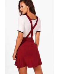 Boohoo | Petite Tilly Cross Back Pinny Dress | Lyst