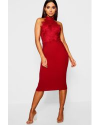 ca6f93d814 Boohoo Boutique Eyelash Lace Bodycon Dress in Red - Lyst