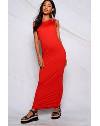bc3a857be66c Lyst - Boohoo Freya Drop Arm Hole T-shirt Dress in Red