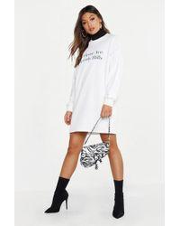 b9f003faad Boohoo - Melrose Balloon Sleeve Sweatshirt Dress - Lyst
