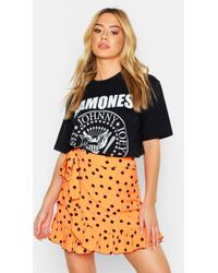 d461cfed4 Boohoo - Petite Ruffle Neon Spot Mini Skirt - Lyst