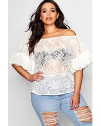 Boohoo - Plus Off The Shoulder Wide Sleeve Top - Lyst