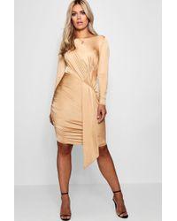 Boohoo - Plus Layla Slinky Tie Front Mini Dress - Lyst